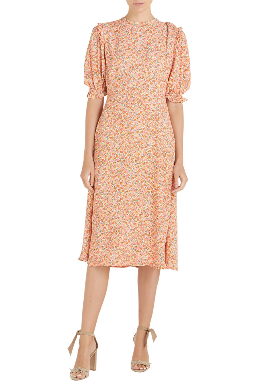 Faithfull The Brand Jean-Marie Midi Dress in Mathiola Floral Print-Pink from The New Trend