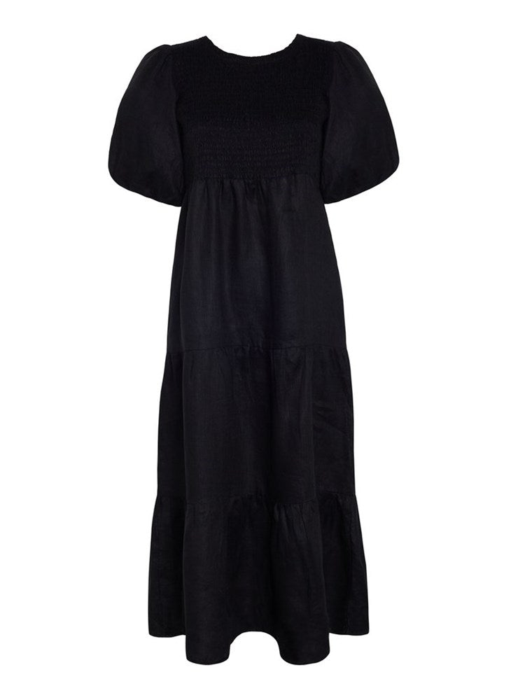 Faithfull The Brand Alberte Midi Dress Black Linen | The New Trend