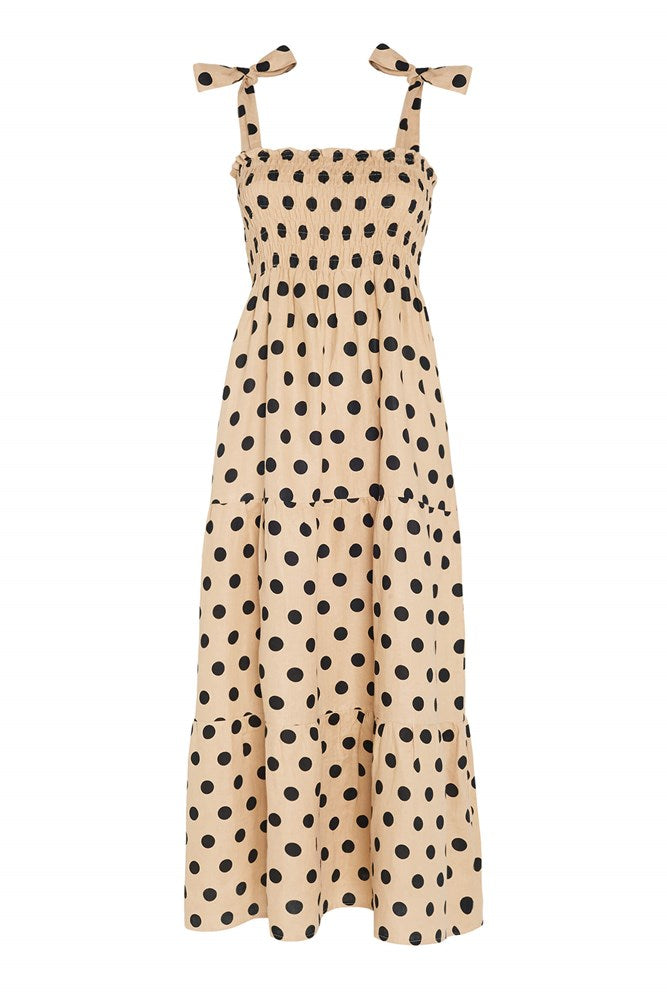 Faithfull The Brand Rianne Midi Dress in Emelda Dot Biscuit from The New Trend