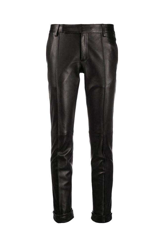Golden Goose Agathe Leather Pant in Black Nero from The New Trend