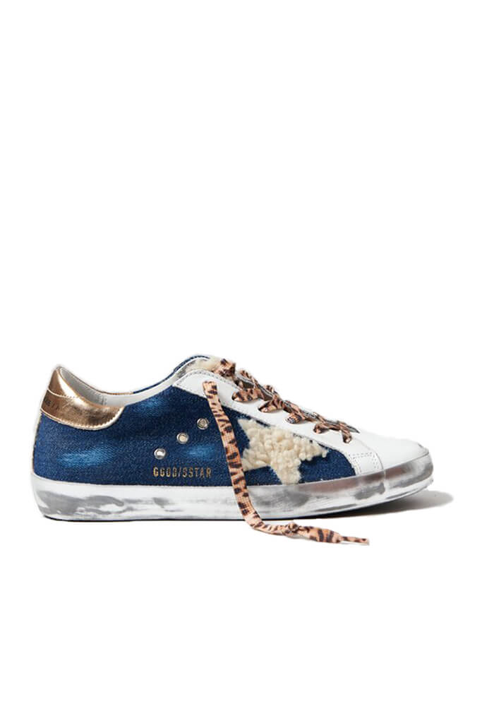 Golden Goose Superstar Sneakers in Blue Beige White Gold from The New Trend