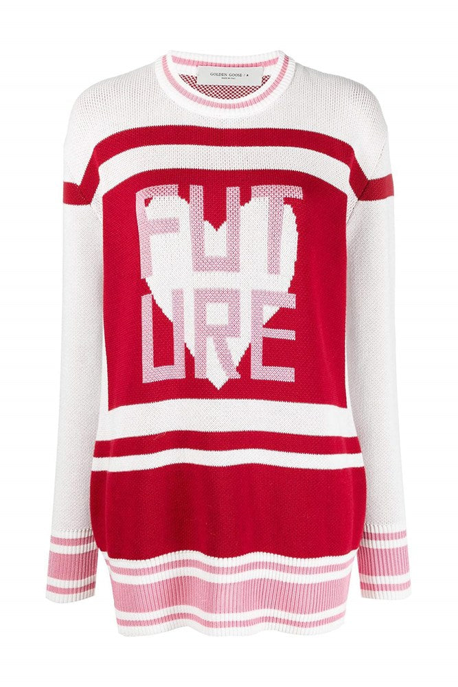 Golden Goose Debbie College Jacquard Sweater in Red, White and Pink from The New Trend