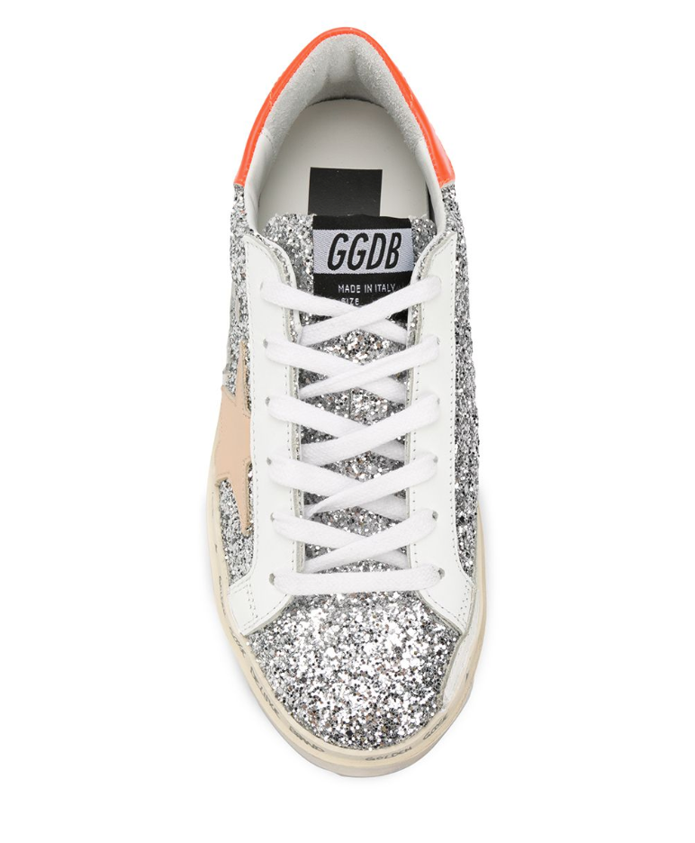 Golden Goose Hi Star Sneakers in Silver Glitter from The New Trend