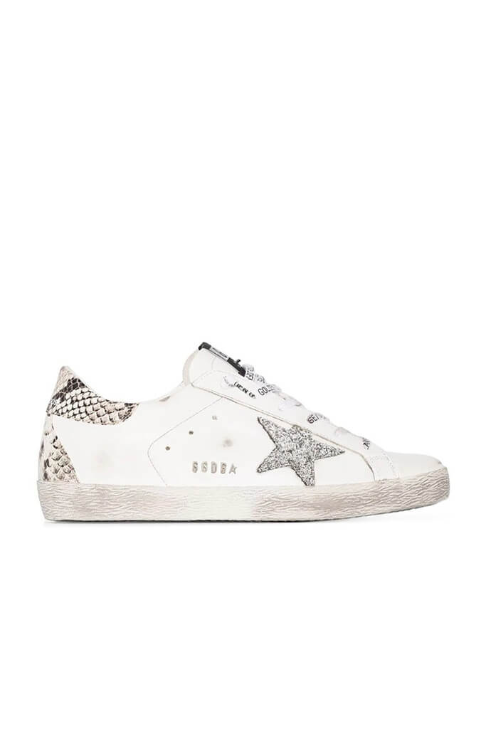 Golden Goose Superstar Sneakers in White, Silver and Rock Snake from The New Trend