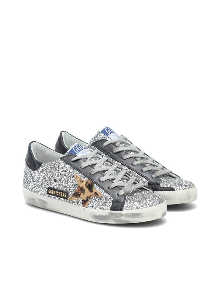 Golden Goose Superstar Sneakers in Silver Glitter Beige Leopard from The New Trend