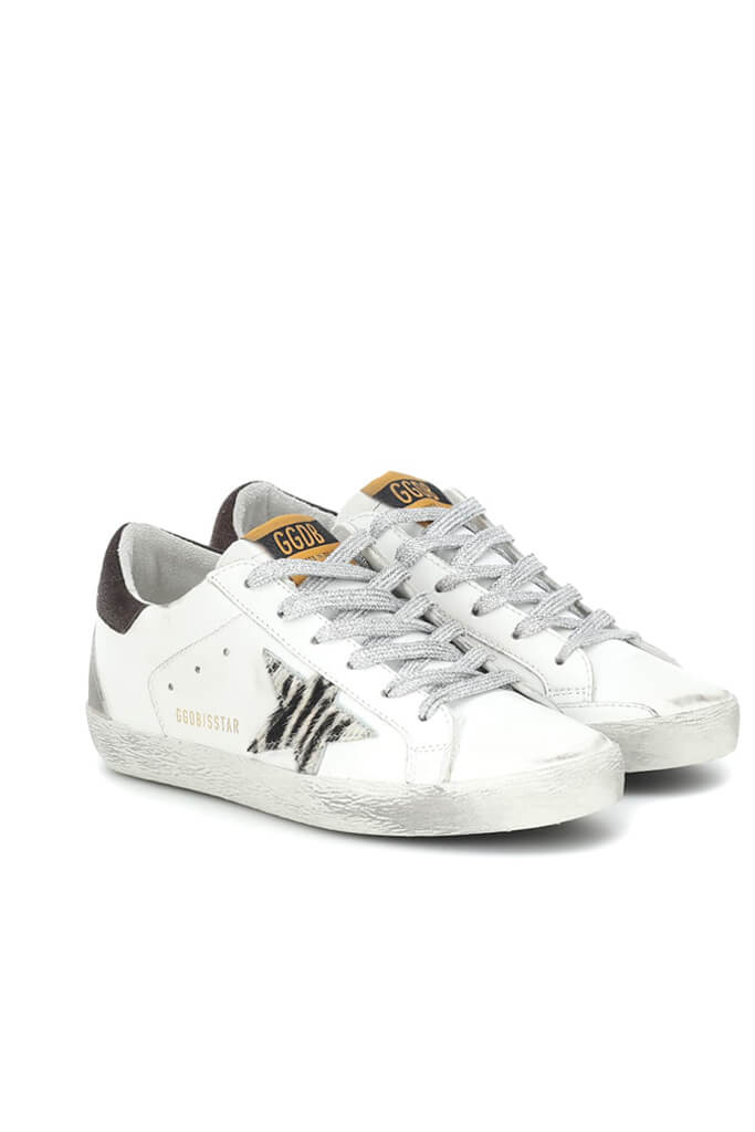 Golden Goose Superstar Sneakers in Zebra Coffee from The New Trend