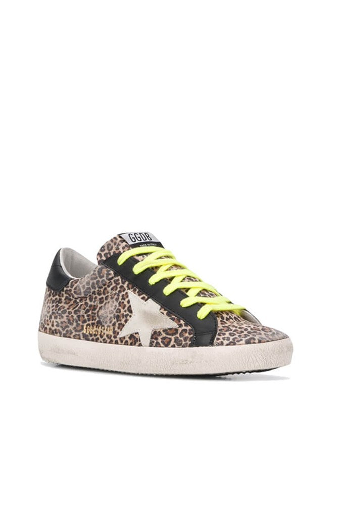 Golden Goose Superstar Sneakers in Beige Leopard Ice Black from The New Trend