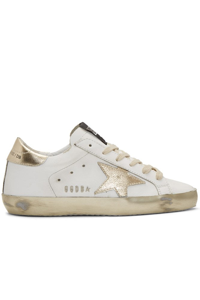 Golden Goose Superstar Sneakers in White Gold Star Sparkle from The New Trend
