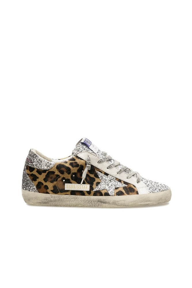 Golden Goose Superstar Sneakers in Silver Brown Black Leopard from The New Trend