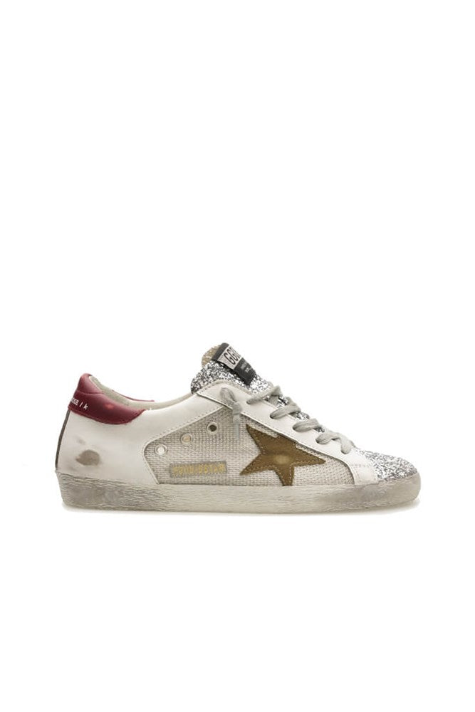 Golden Goose Superstar Sneakers in Silver Glitter White Tobacco Red from The New Trend