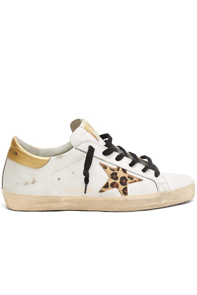 Golden Goose Superstar Sneakers in White Leather Gold Leopard Star from The New Trend