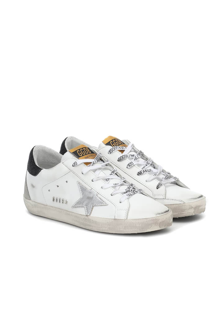 Golden Goose Superstar Sneakers in White Silver Black from The New Trend