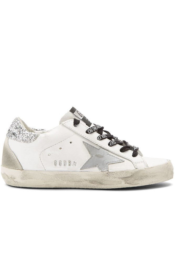 Golden Goose Superstar Sneakers in White Silver Glitter Metal Lettering from The New Trend