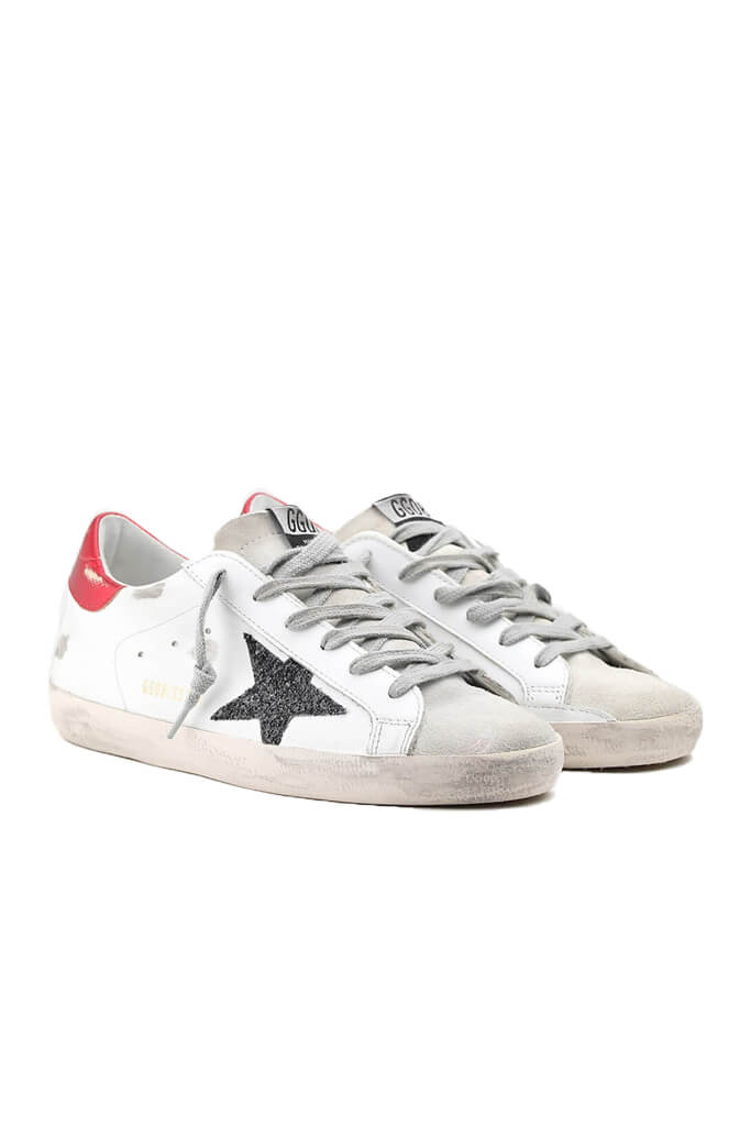 Golden Goose Superstar Sneakers in Ice White with Red Lizard from The New Trend