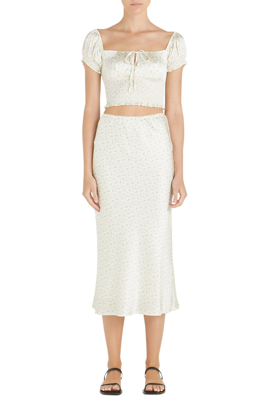 Hansen & Gretel Opal Silk Midi Skirt in Fiore Cream Floral Print from The New Trend