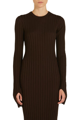 FINE WOOL RIB CUFF SPILT DRESS