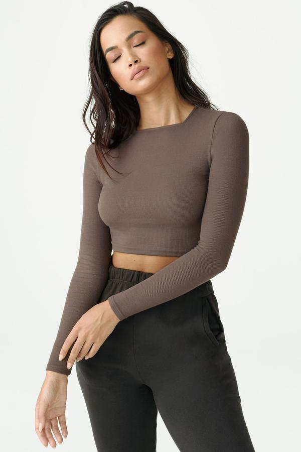 Joah Brown High Square Neck Top Long Sleeve in Mauve from The New Trend