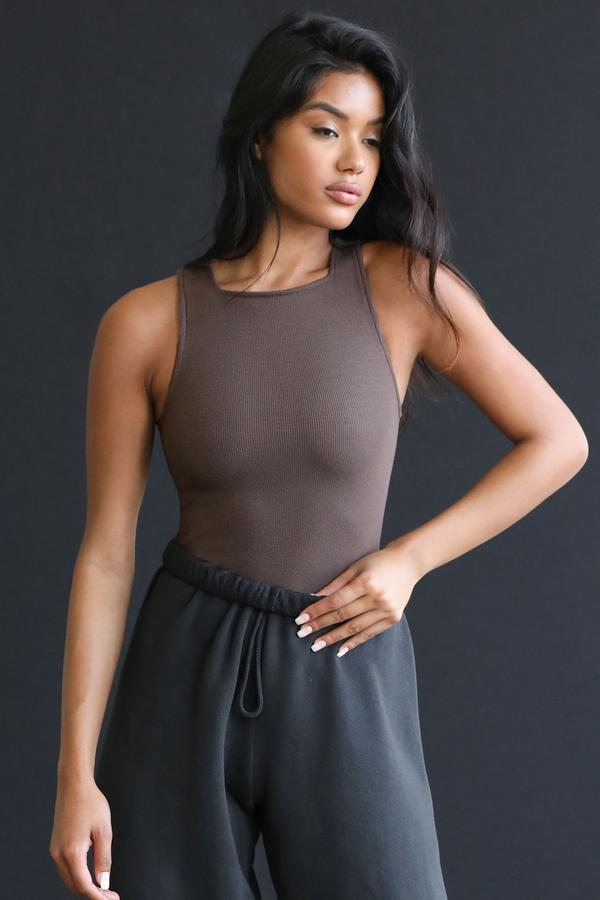 Joah Brown High Square Neck Tank in Mauve from The New Trend