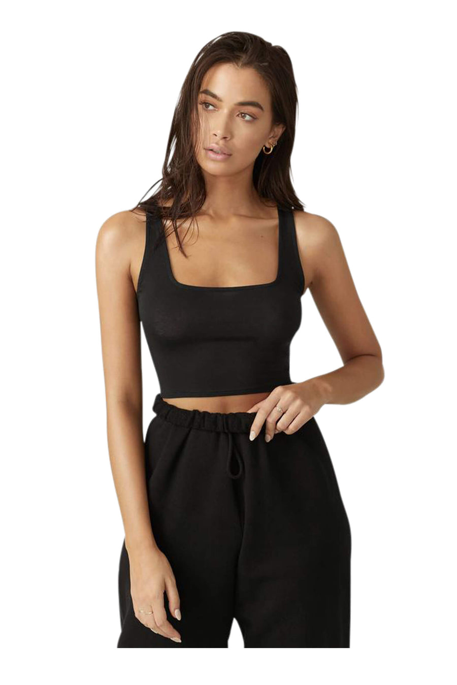 Joah Brown Square Neck Crop Tank in Black from The New Trend