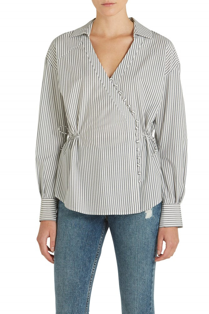 Jonathan Simkhai Oxford Wrap Front Top at The New Trend