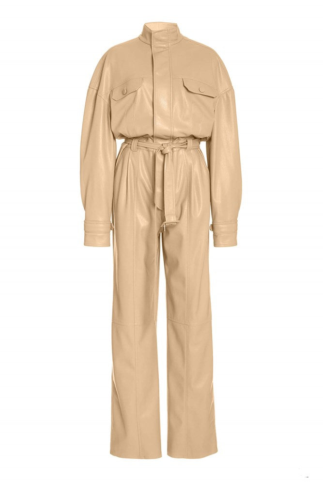 Jonathan Simkhai Katerina Vegan Leather Jumpsuit in Camel from The New Trend