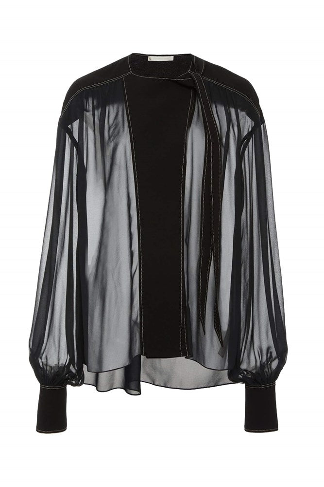 Jonathan Simkhai Alessandra Front Flap L/S Top in Black from The New Trend