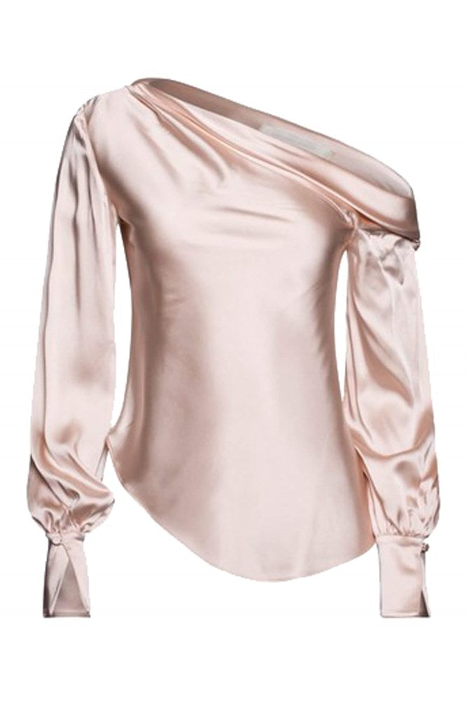 Jonathan Simkhai Alice Satin One Shoulder Top in Dove from The New Trend