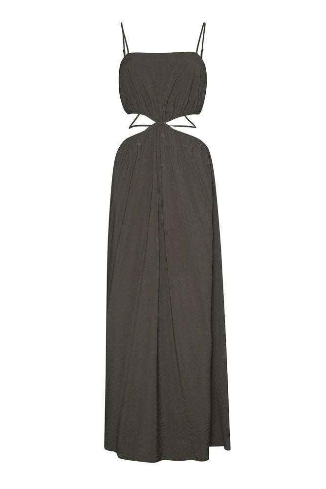Jonathan Simkhai Amora Solid Strap Detail Maxi Dress in Army Green from The New Trend