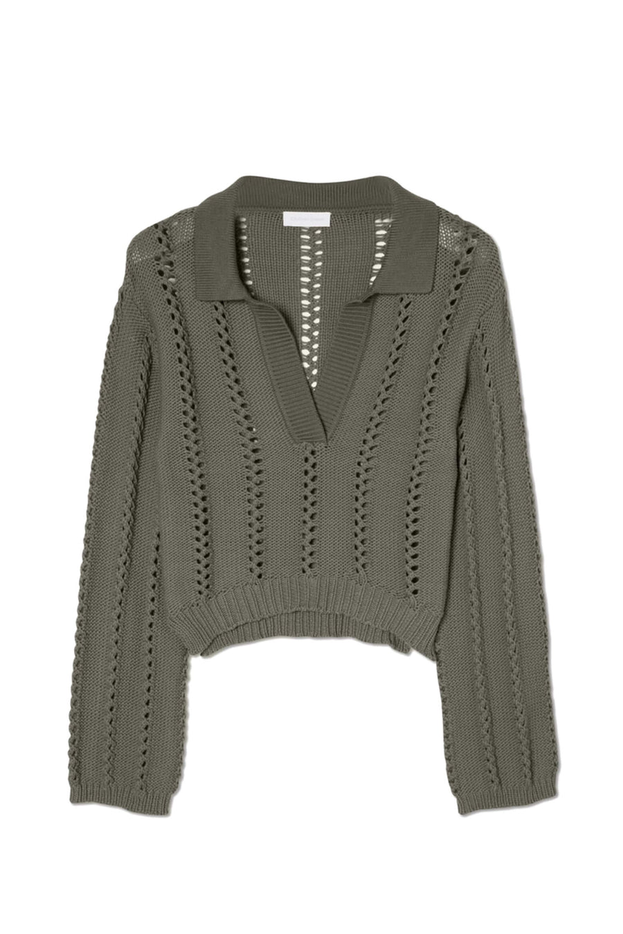 Jonathan Simkhai Berenice Directional Rib LS Polo in Eucalyptus from The New Trend