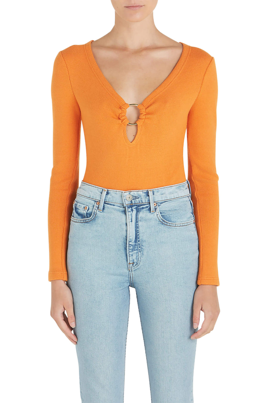 Jonathan Simkhai Directional Rib Bodysuit in Tangerine from The New Trend