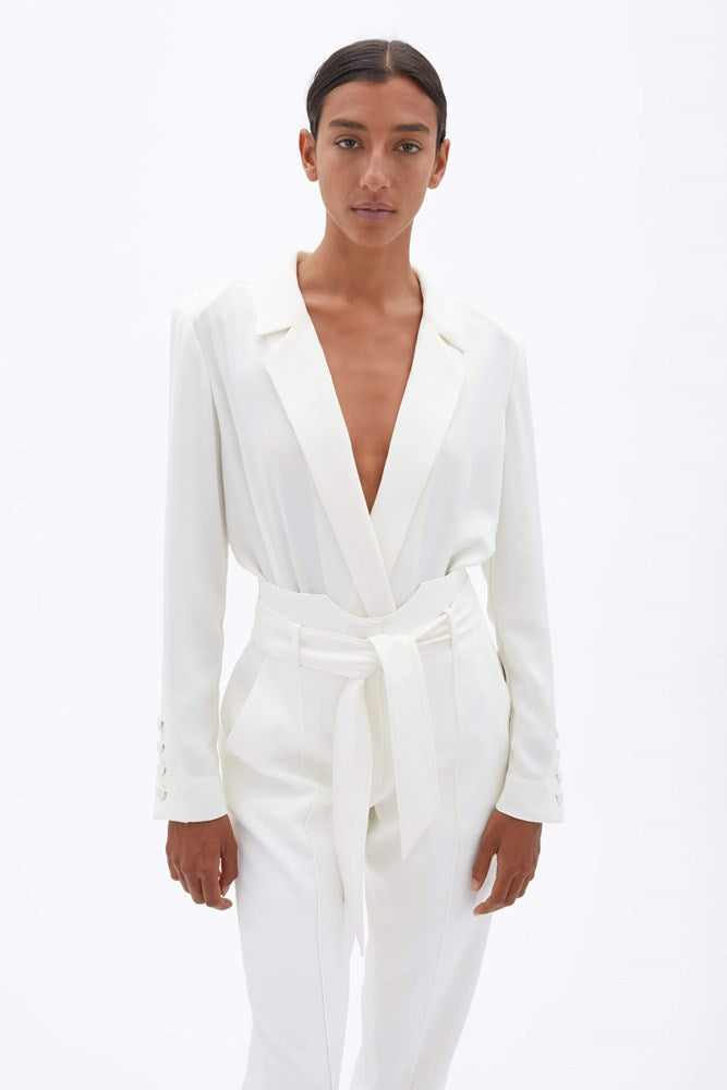 Jonathan Simkhai Etta Mixed Crepe Blazer Bodysuit in White from The New Trend