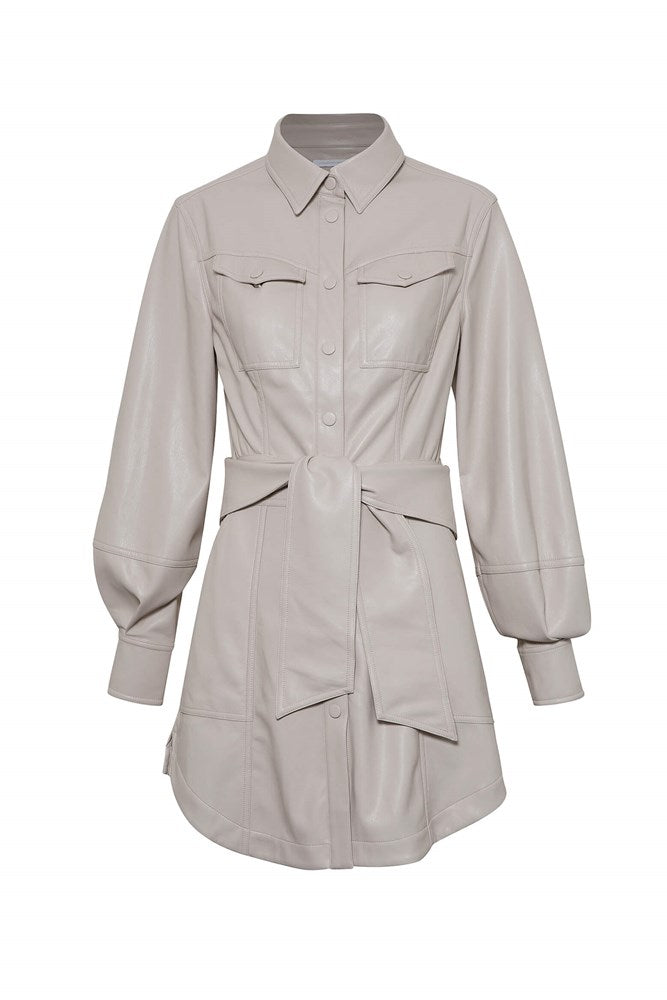 Jonathan Simkhai Eve Vegan Leather L/S Mini Shirt Dress in Stone from The New Trend