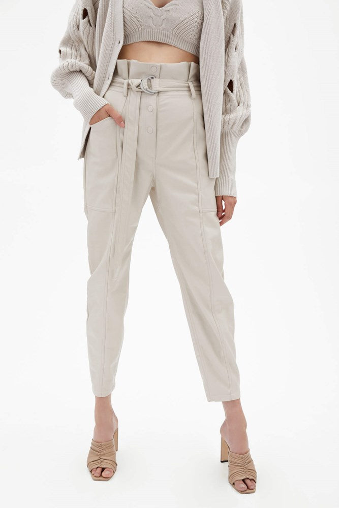 Jonathan Simkhai Leela Vegan Leather Paperbag Waist Pant in Stone from The New Trend