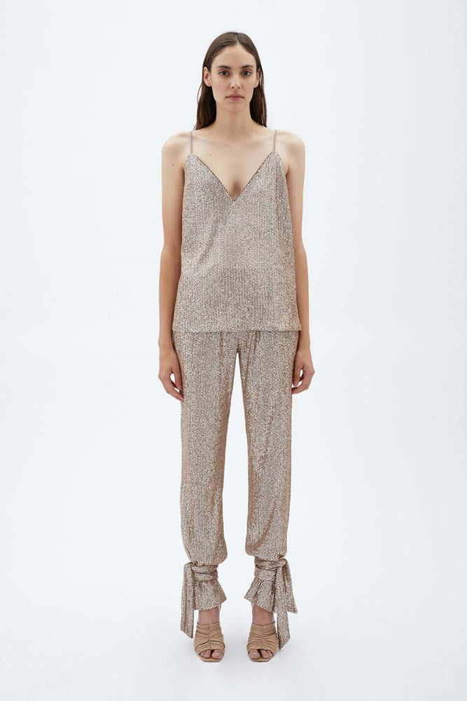 Jonathan Simkhai Lynette Featherlight Sequin Camisole in Fawn from The New Trend