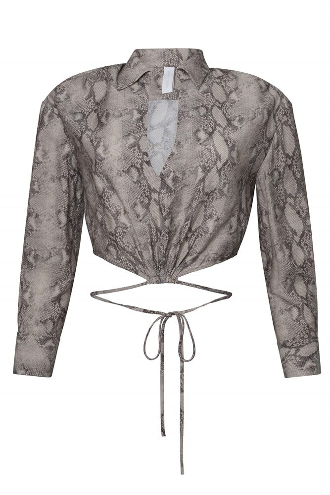 Jonathan Simkhai Mazzy Solid Strap Detail Crop Shirt in Python from The New Trend