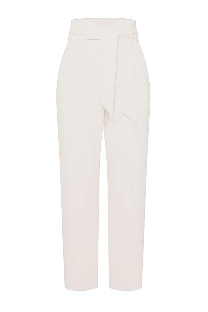 Jonathan Simkhai Remington Classic Wovens Tapered Tie Waist Pant in White from The New Trend
