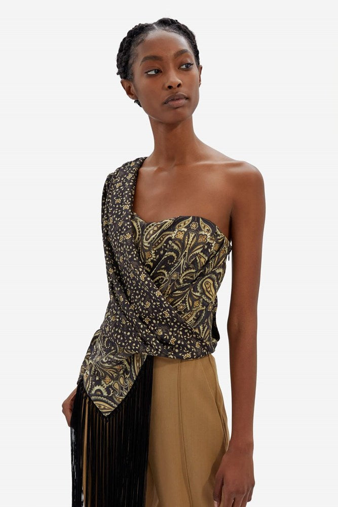 Jonathan Simkhai Sarai One Shoulder Top in Black Paisley from The New Trend