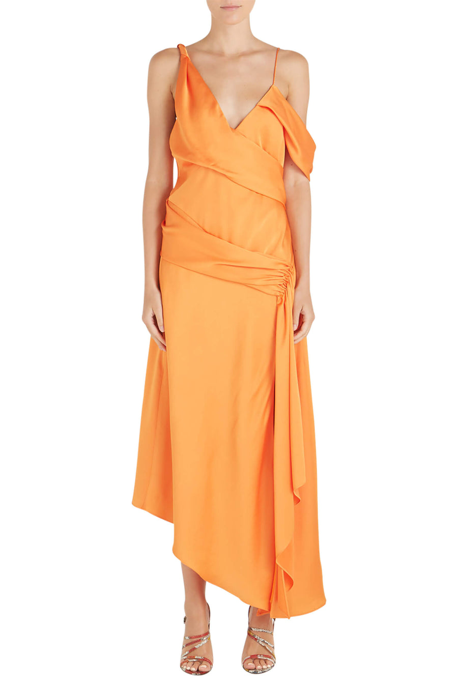 Jonathan Simkhai Fluid Satin Asymmetric Drape Gown in Tangerine from The New Trend