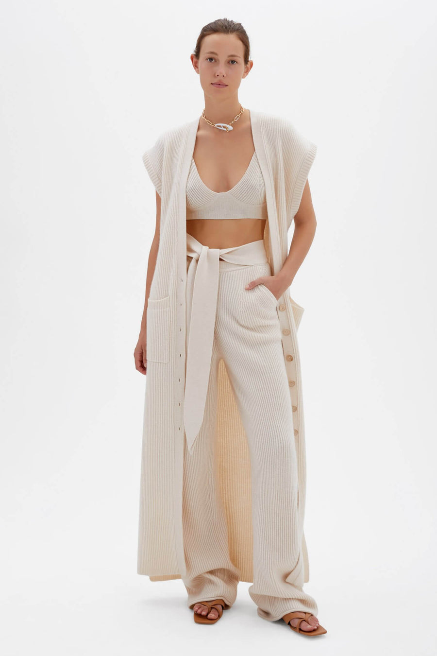 Jonathan Simkhai Selma Loungewear Long Vest in Ecru from The New Trend