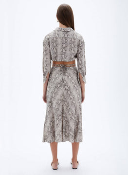 Jonathan Simkhai Shiloh Solid Strap Detail Skirt in Python from The New Trend