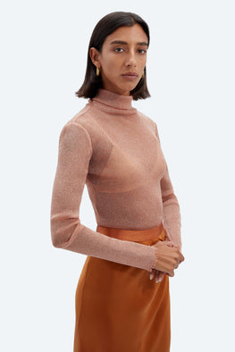 Jonathan Simkhai Standard Tulle L/S Turtleneck Top in Dusk from The New Trend
