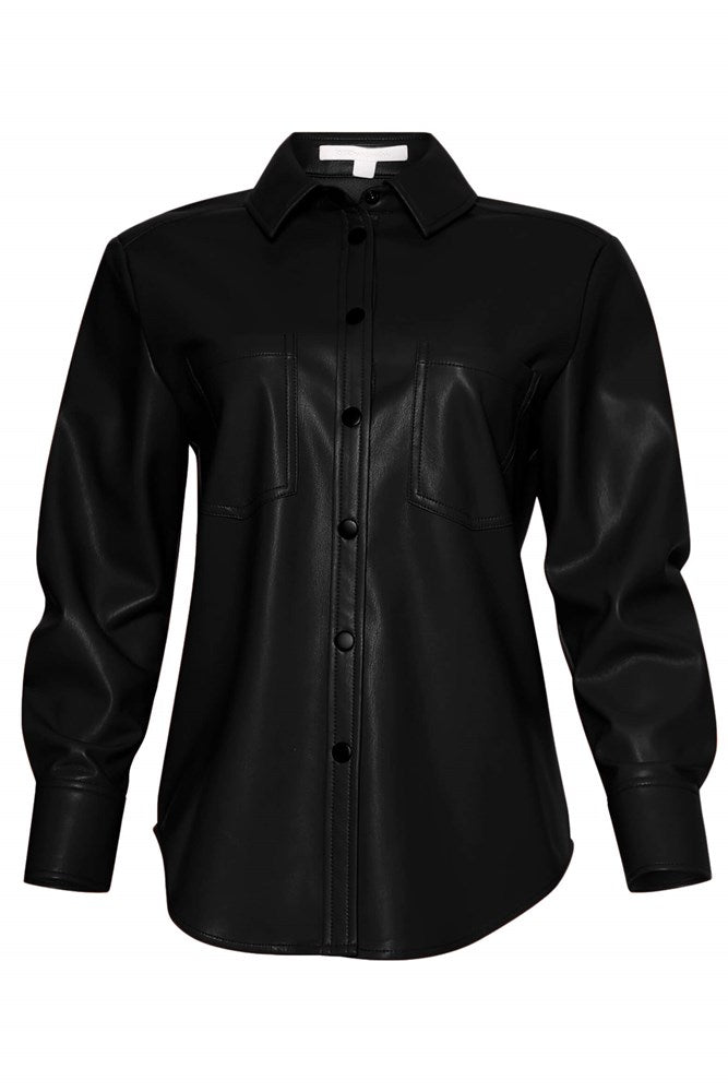 Jonathan Simkhai Standard Vegan Leather Pleated Sleeve Shirt in Black from The New Trend