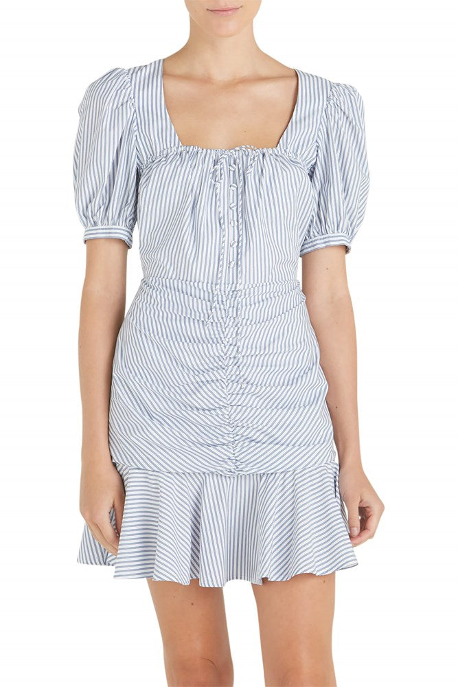 Jonathan Simkhai Striped Ruched Front Mini in Midnight Pinstripe from The New Trend