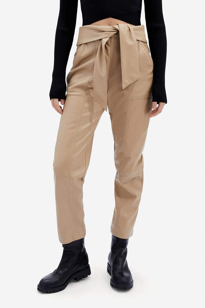 Jonathan Simkhai Tessa Vegan Leather Tie Waist Pant in Camel from The New Trend