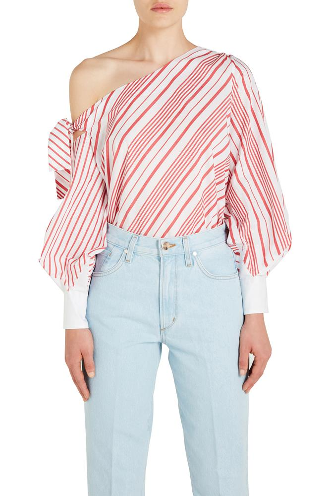 ASYMMETRIC ONE SHOULDER OXFORD BLOUSE