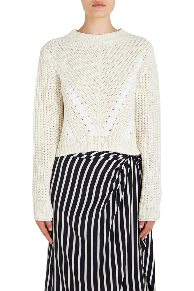 3.1 Phillip Lim Long Sleeve Cropped Pullover Knit Sweater from The New Trend