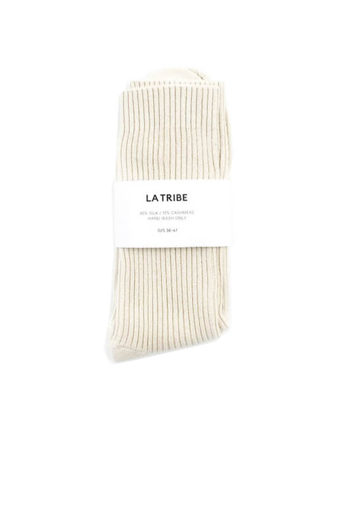 La Tribe Silk Cashmere Bed Sock in Oat from The New Trend