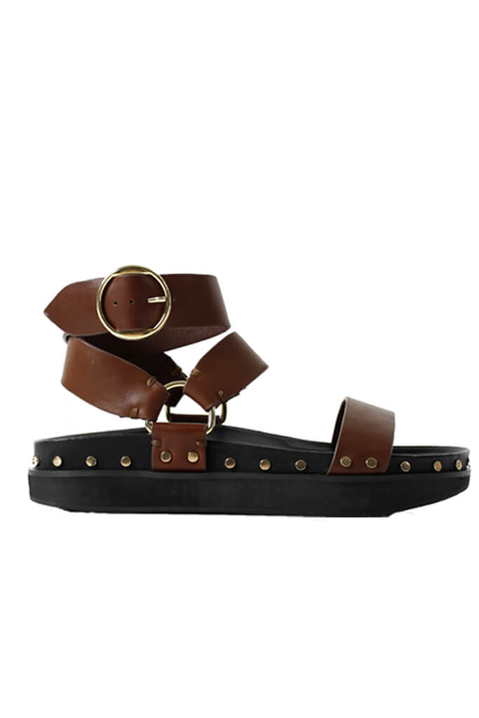 La Tribe Studded Sandal in Rich Tan from The New Trend