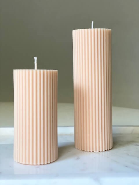 Le Lit Pillar Candles in Peachy from The New Trend