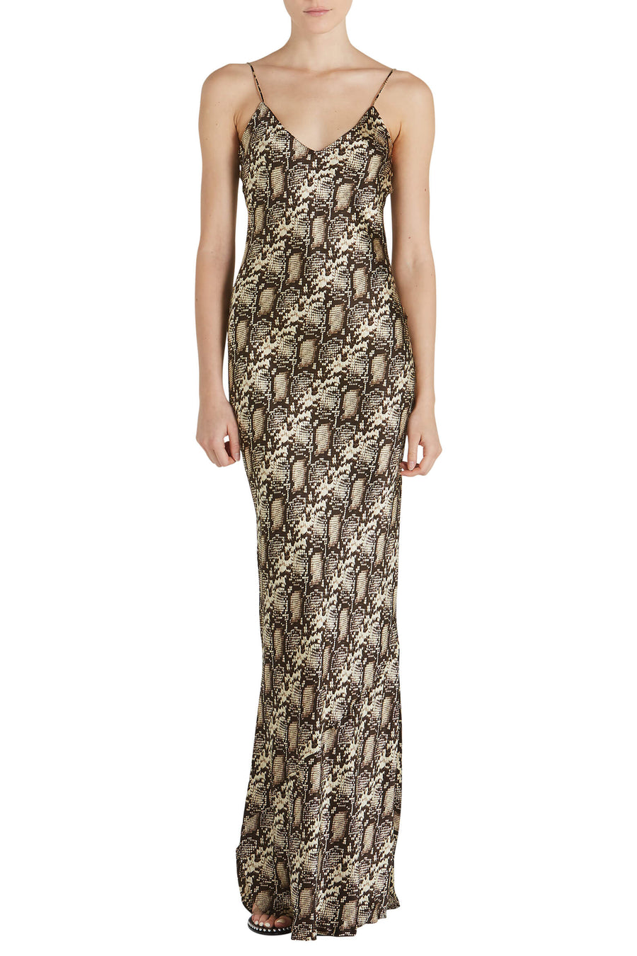 Nili Lotan Cami Gown in Dark Brown Snake from The New Trend